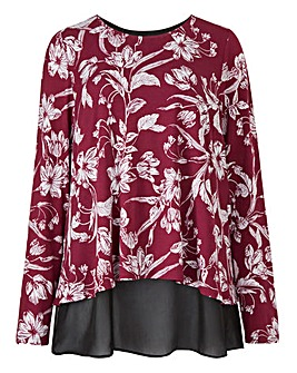 Damson Print Split Back Chiffon Top