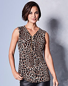 Animal Print Zip Neck Vest