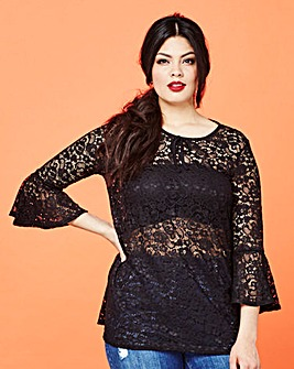 Simply Be Lace Bell Sleeve Top