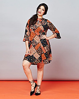 Simply Be Fluted Sleeve Print Dress