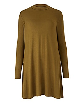 Khaki Turtleneck Swing Tunic