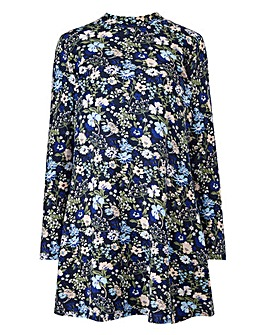 Navy Floral Turtleneck Swing Tunic