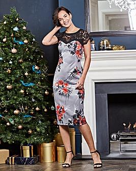 Lace Yoke Print Bodycon Dress