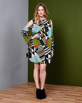 Simply Be Geo Print Cold Shoulder Dress