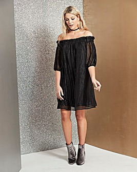 Black Metallic Stripe Bardot Dress