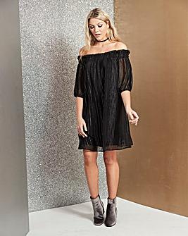 Black Metallic Stripe Bardot Dress
