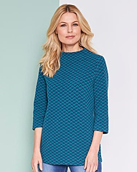 Teal Jacquard Chevron Top