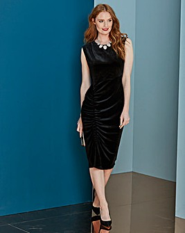 Black Ruched Velour Bodycon Dress
