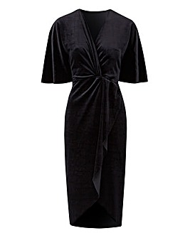 Black Knot Front Velour Dress