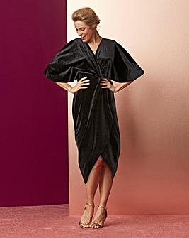 Black Knot Front Velour Dress