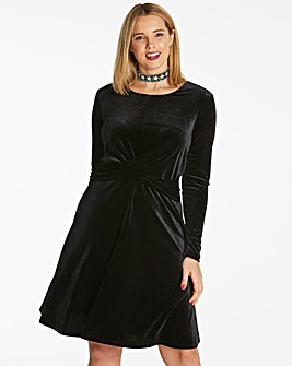 Black Velour Cross Over Skater Dress