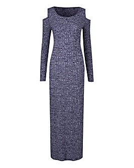 Navy Cold Shoulder Rib Marl Maxi Dress