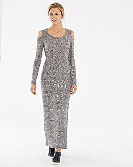Grey Cold Shoulder Rib Marl Maxi Dress