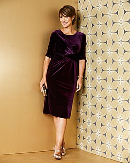 Blackcurrant Drape Front Velour Dress