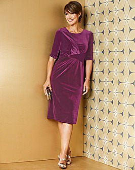 Blackcurrant Drape Front Velour Dress