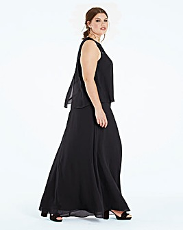 Lace Yoke Layer Maxi Dress