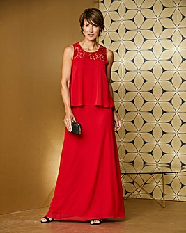 Red Lace Yoke Layer Maxi Dress