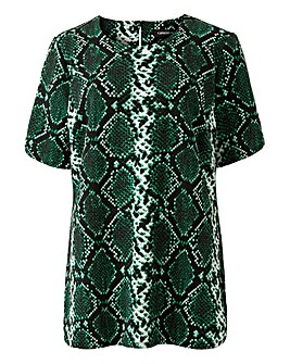 Green Snake Print Jersey Shell Top