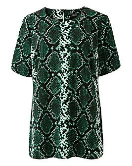 Green Snake Print Jersey Shell Top