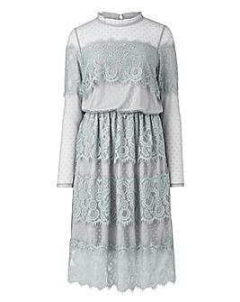 Grey Lace Layered Dress