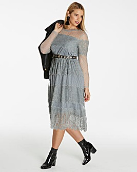 Grey Lace Layered Dress