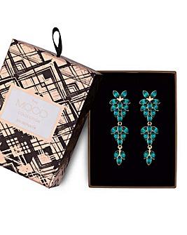 Mood Green Crystal Floral Earrings