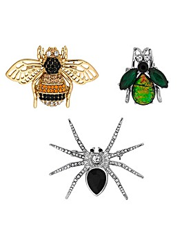Mood Crystal Bug Brooch Set