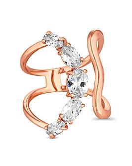 Jon Richard Rose Crystal Curved Ring