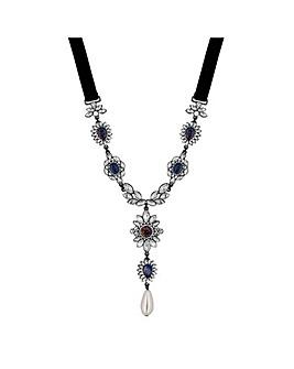 Mood Ornate Crystal Y Necklace