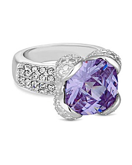 Jon Richard Purple Crystal Square Ring
