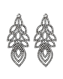 Mood Crystal Diamante Leaf Earring