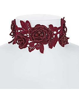 Mood Red Floral Lace Choker Necklace