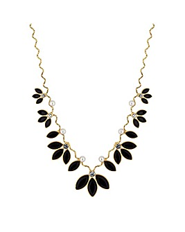Mood Jet Crystal Leaf Necklace