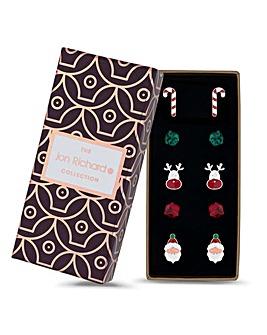 Jon Richard Christmas Stud Earring Set