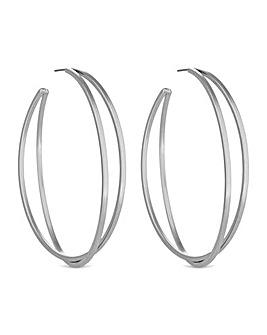 Mood Silver Large Hoop Twist Earring