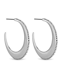 Jon Richard Pave Moon Hoop Earring