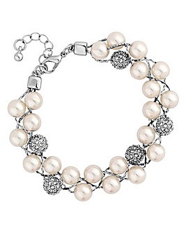 Jon Richard Pearl And Pave Ball Bracelet