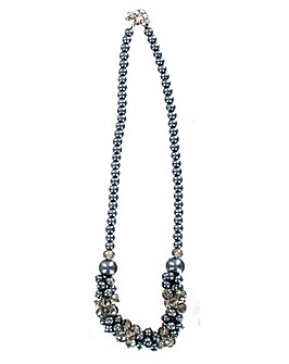 Faux Pearl Cluster Necklace