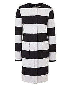 Collarless Stripe Coat