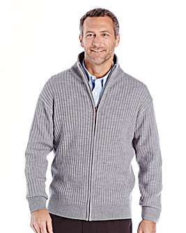 Premier Man Grey Rib Zipper Cardigan R