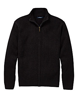 Premier Man Black Rib Zipper Cardigan R