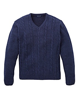 Premier Man Navy V Neck Cable Sweater R