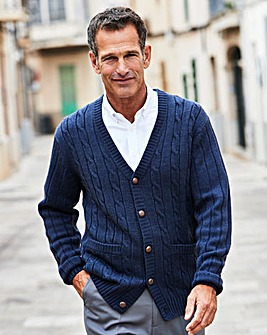 Premier Man Navy Cable Button Cardigan R