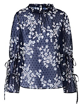 NavyPrint High Neck Fluted Sleeve Blouse
