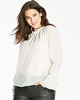 White High Neck Fluted Sleeve Blouse