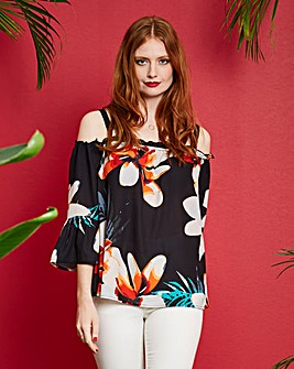 Tropical Print Cold Shoulder Blouse