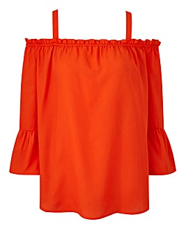 Orange Frill Hem Cold Shoulder Blouse