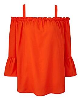 Orange Frill Hem Cold Shoulder Blouse