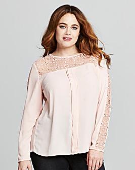 Blush Long Sleeved Crochet Top