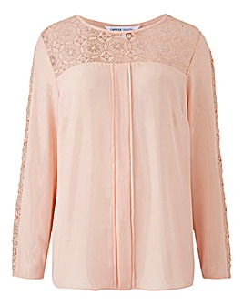Blush Long Sleeved Crochet Top
